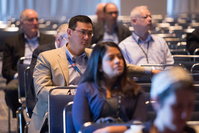 Attendees listen to presentations during Sarcoma Oral Abstract Session