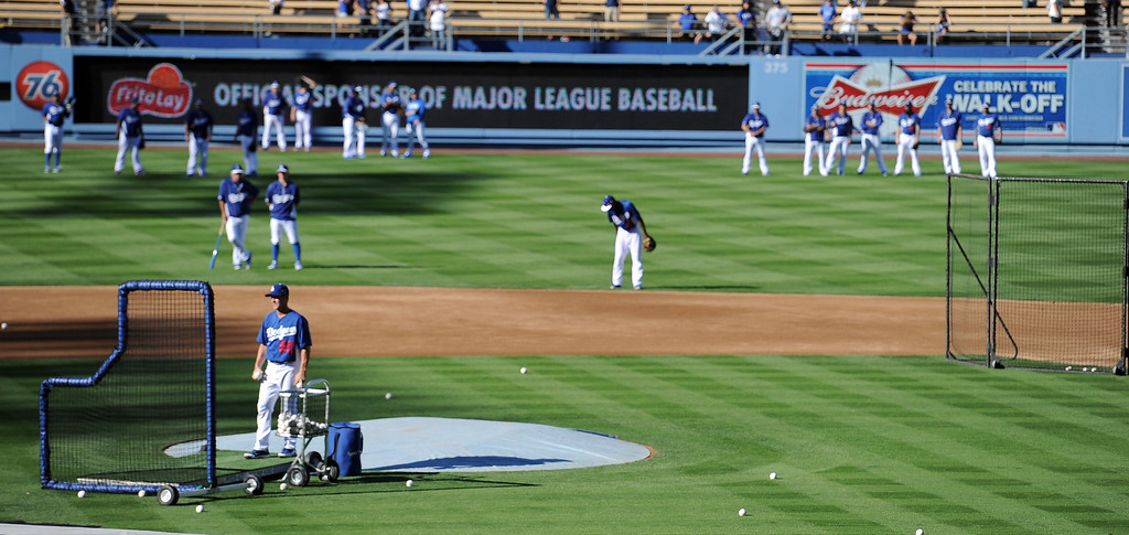 . Dodgers on the field before they play the Atlanta Braves in game 4 of the NLDS at Dodger Stadium Monday, October 7, 2013. (Photo by Hans GutknechtLos Angeles Daily News)