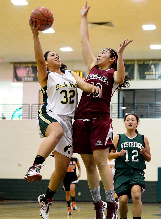 . Keppel\'s Alyson Lock attempts to block South Hills\' Imani Payton as she goes for a shot during the 10th annual Tribune/Star-News boys/girls basketball all-star classic Friday night, April 26, 2013 at Damien High School in La Verne. (SGVN/Staff Photo by Sarah Reingewirtz)