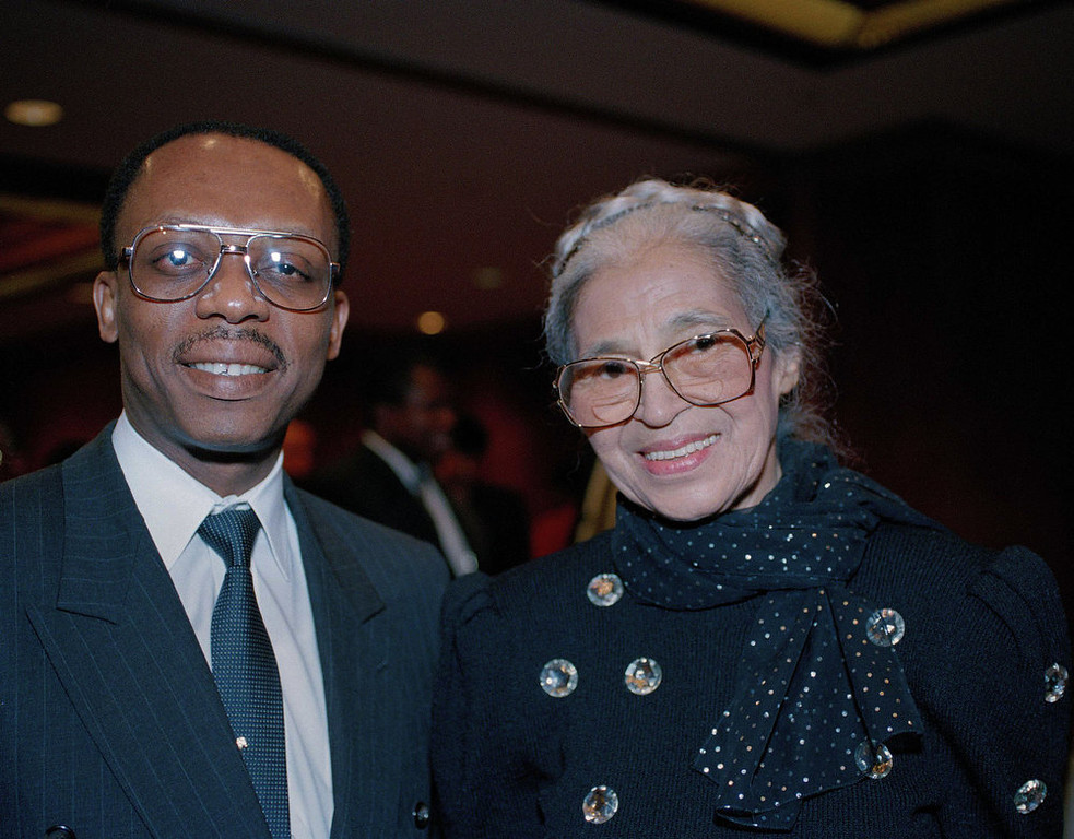 . Rosa Parks, right, is seen with former Haitian president Jean Bertrand Aristide in Washington in August 1993. (AP Photo)