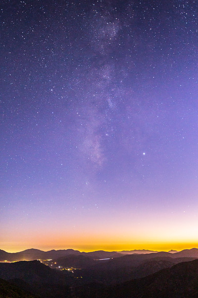 Twilight Milky Way Over The Rolling Hills Of Pine Valley.