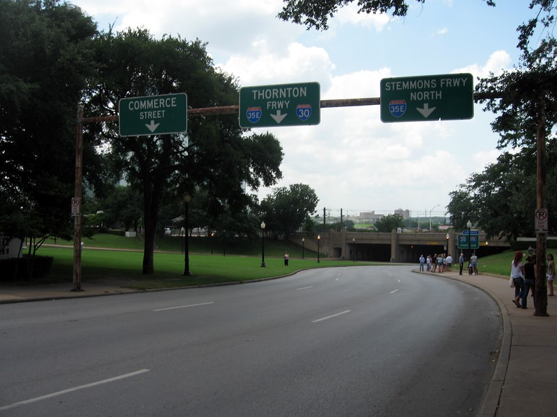 View down Elm Street, towards the Triple Underpass