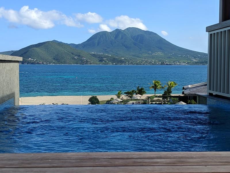 Infinity pool > resort > beach > Caribbean Ocean > Nevis Peak
