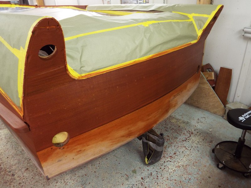 Transom with stain applied.