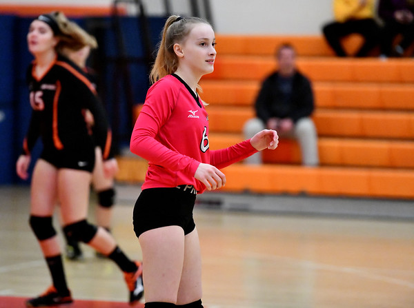 10/18/2019 Mike Orazzi | StaffrTerryville's Emily Ieronimo (6) during Friday night's girls volleyball match with Goodwin Tech in Terryville. r