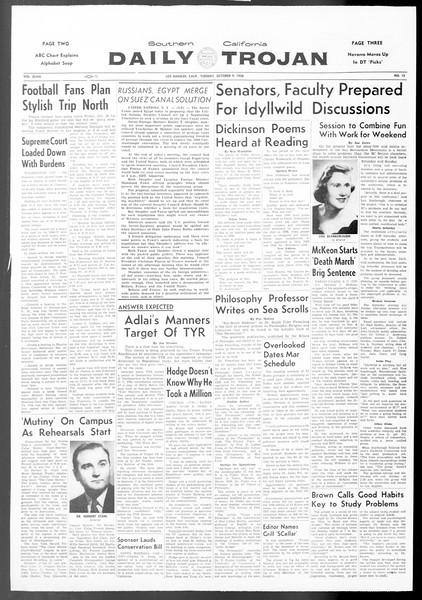 Daily Trojan, Vol. 48, No. 13, October 09, 1956