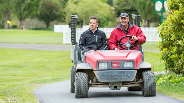 Dylan Lynstrom (Director of Golf) and John Spraggs (Course Superintendent) surveying the work being undertaken to prepare Royal Wellington Golf Club  to host the Asia-Pacific Amateur Championship tournament 2017 held in Heretaunga, Upper Hutt, New Zealand from 26 - 29 October 2017. Copyright John Mathews 2017.   www.megasportmedia.co.nz
