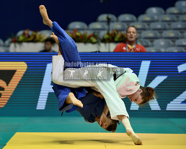 2013 Rio De Janeiro Worlds 130827A9247: Under 52kgs eliminations: Mareen Kraeh GER (white) throws Andreea Ionas ROU for ippon during the Ri....