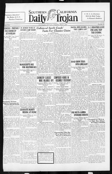 Daily Trojan, Vol. 16, No. 81, April 02, 1925