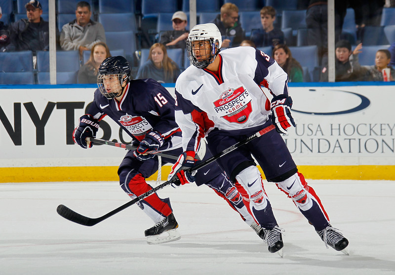 . Seth Jones #3 of Team McClanahan skates against Team Housley at the USA Hockey All-American Prospects Game at the First Niagara Center on September 29, 2012 in Buffalo, New York.  (Photo by Bruce Bennett/Getty Images)
