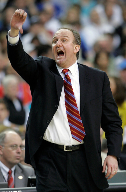 . Ohio State coach Thad Matta calls to his team during his men\'s semifinal basketball game at the Final Four in the Georgia Dome in Atlanta Saturday, March 31, 2007 in first half action. Ohio State is facing Georgetown. (AP Photo/Mark Humphrey)