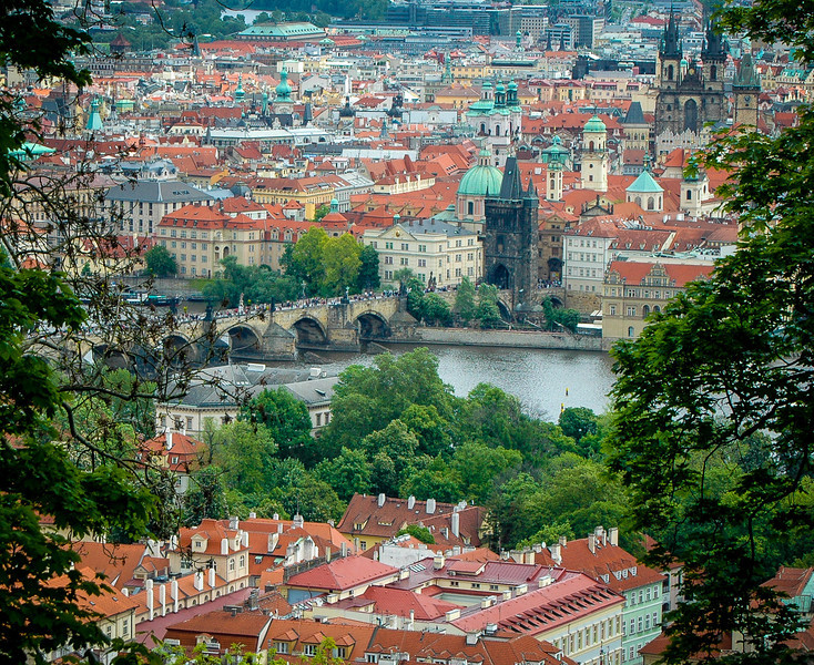 Prague: Vlatava River & Old Town, from Petrin Hill