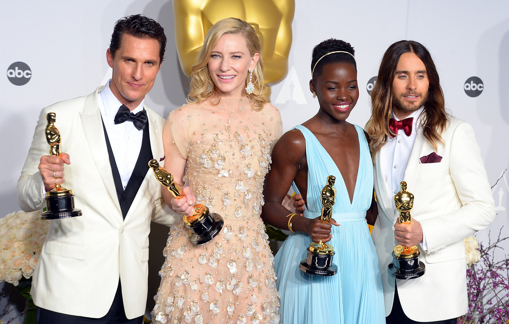 . Oscar winners Matthew McConaughey, Cate Blanchett,  Lupita Nyong\'o, and Jared Leto backstage at the 86th Academy Awards at the Dolby Theatre in Hollywood, California on Sunday March 2, 2014 (Photo by David Crane / Los Angeles Daily News)