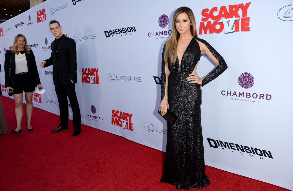 """. Actress Ashley Tisdale arrives at the Dimension Films\' \""""Scary Movie 5\"""" premiere at the ArcLight Cinemas Cinerama Dome on April 11, 2013 in Hollywood, California.  (Photo by Jason Merritt/Getty Images)"""