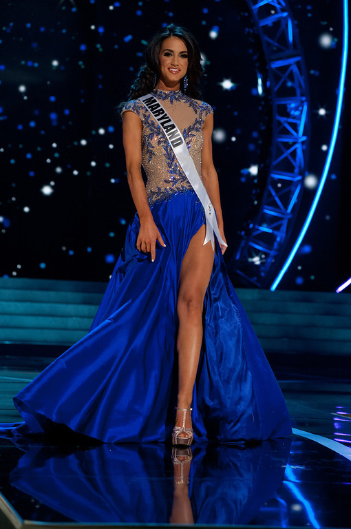 . This photo provided by the Miss Universe Organization, Miss Maryland USA 2013, Kasey Staniszewski competes in her evening gown during the 2013 Miss USA Competition Preliminary Show  in Las Vegas  on Wednesday June 12, 2013.  She will compete for the title of Miss USA 2013 and the coveted Miss USA Diamond Nexus Crown on June 16, 2013.  (AP Photo/Miss Universe Organization, Patrick Prather)