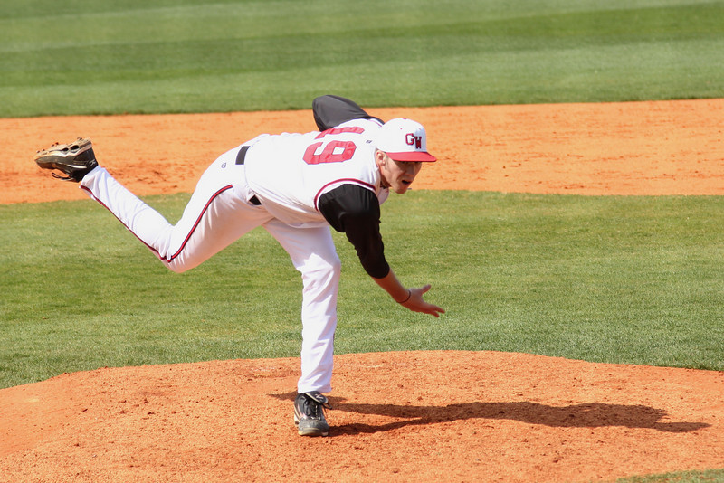 #19 Brock Wilson gets the call to pitch in the Bulldogs game against UNC-Asheville.