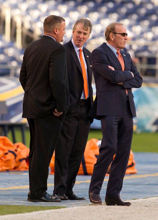 . Denver Broncos Brian Xander, GM (L) Joe Ellis, Chief Operating Officer, and Owner Pat Bowlen stand on the sidelines before their game against the San Diego Chargers November 22, 2010 during Monday Night Football at Qualcomm Stadium. John Leyba, The Denver Post