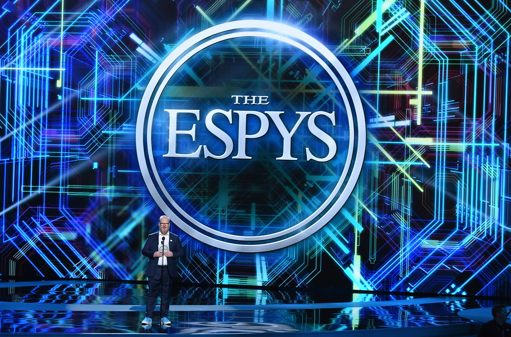 . Jim Gaffigan presents the award for best championship performance at the ESPY Awards at Microsoft Theater on Wednesday, July 18, 2018, in Los Angeles. (Photo by Phil McCarten/Invision/AP)