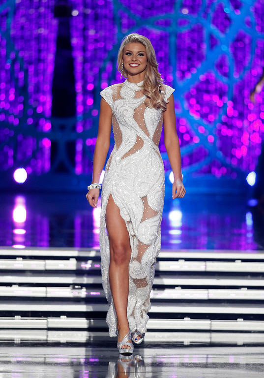 . Miss South Carolina Ali Rogers competes in the evening gown portion of the Miss America 2013 pageant on Saturday, Jan. 12, 2013, in Las Vegas. Rogers was named first runner-up. (AP Photo/Isaac Brekken)