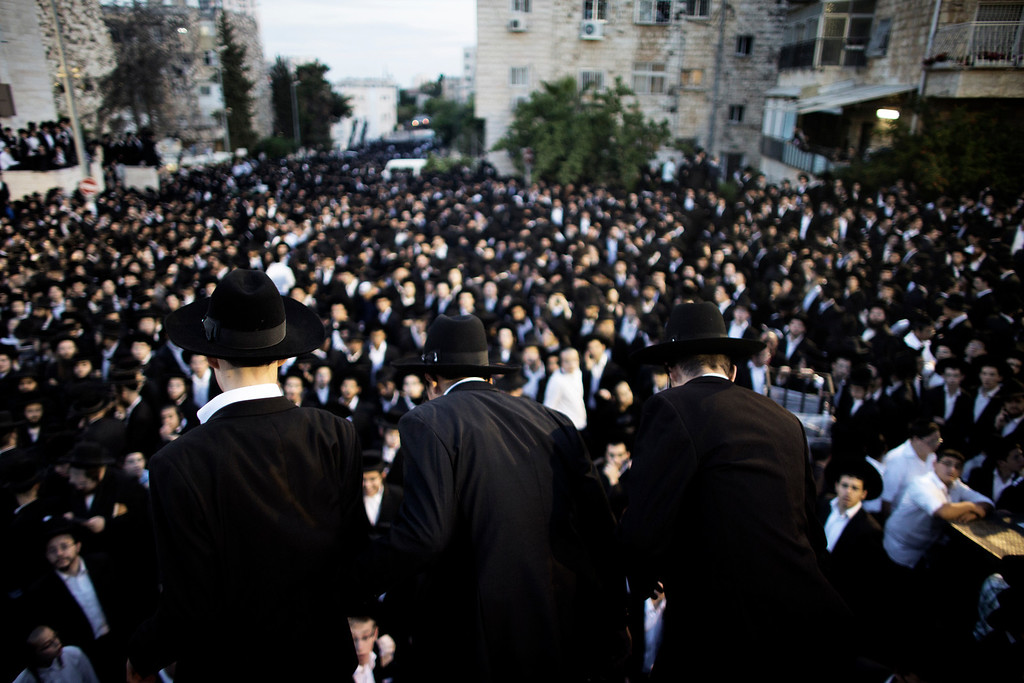 . Thousands of Ultra Orthodox Jews gather in front of the main army recruitment office in Jerusalem May 16, 2013 to demonstrate against any plans to make them undergo military service.  Several proposals on expanding the draft are under discussion, but ultra-Orthodox rabbis say their pupils\' religious studies come first.    MARCO LONGARI/AFP/Getty Images