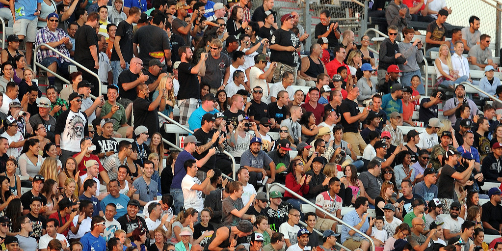 . Over 4000 fans look on during the X Games Gymkhana Grid finals at Irwindale Speedway on Saturday, Aug. 3, 2013 in Irwindale, Calif.   (Keith Birmingham/Pasadena Star-News)