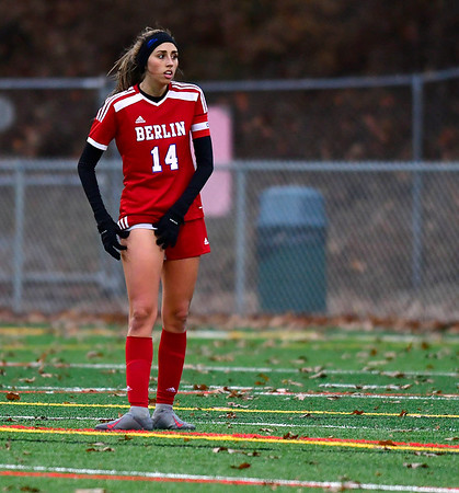 11/12/2019 MIke Orazzi | StaffrBerlin High School's Emma Norton (14) Tuesday afternoon at Sage Park during the Class L First Round Girls Soccer Tournament with Joel Barlow in Berlin.