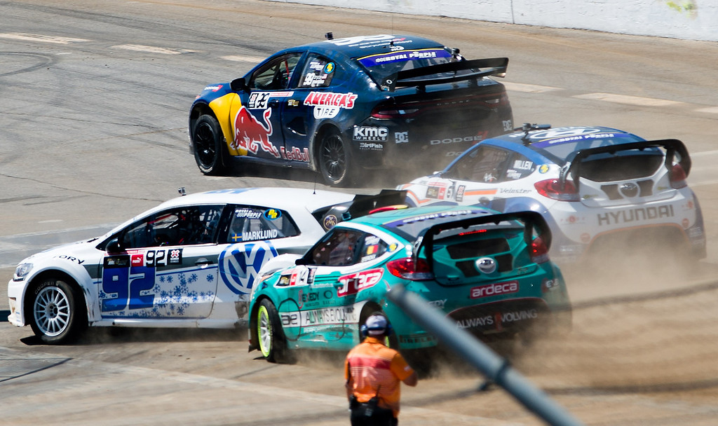 . Drivers compete in the Ford RallyCross SuperCar final round during X Games Los Angeles at Irwindale Event Center on Sunday, August 4, 2013. Toomas Heikkinen won gold.  (SGVN/Staff photo by Watchara Phomicinda)