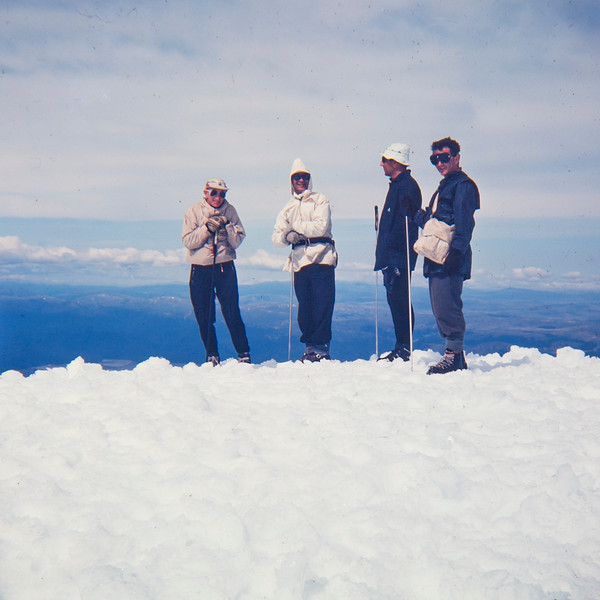 1962 XXX, XXX, Peter Ainsworth and XXX with JER Mathews on top of Mt te Heuheu, Tongariro National park.jpg