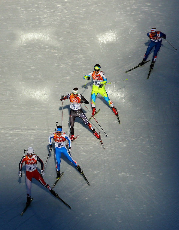 . Mikko Kokslien of Norway leads the group during the Nordic Combined Individual Gundersen Normal Hill and 10km Cross Country on day 5 of the Sochi 2014 Winter Olympics at the RusSki Gorki Nordic Combined Skiing Stadium on February 12, 2014 in Sochi, Russia.  (Photo by Al Bello/Getty Images)