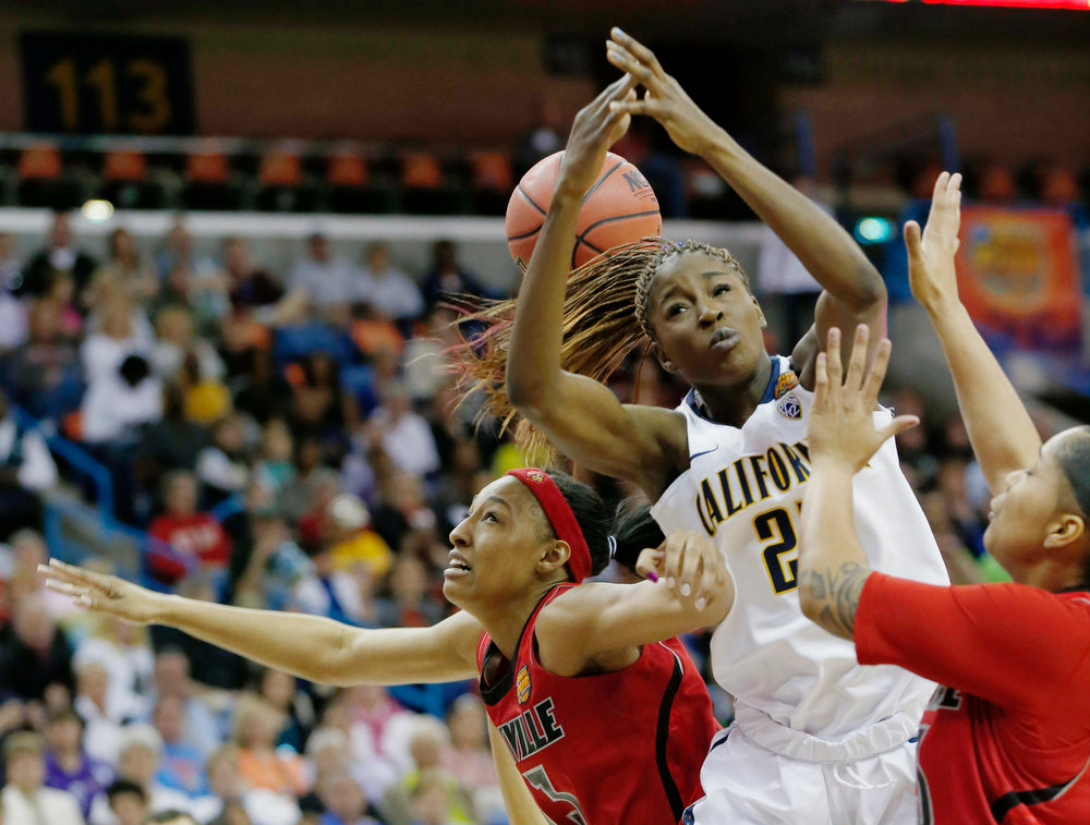 . California forward Gennifer Brandon (25) battles for a rebound against Louisville forward Cortnee Walton (13) and Louisville forward Monique Reid (33) in the first half of a national semifinal at the Women\'s Final Four of the NCAA college basketball tournament, Sunday, April 7, 2013, in New Orleans. (AP Photo/Dave Martin)