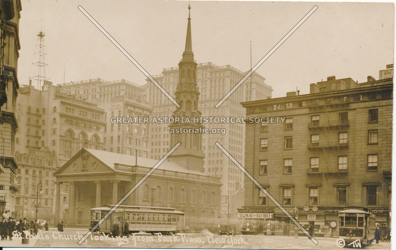 St. Paul's Church, looking from Park Row, N.Y.