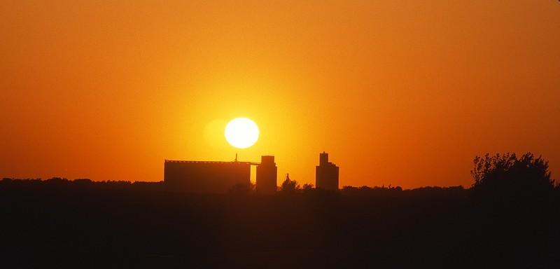 Grain Elevators at Sunset