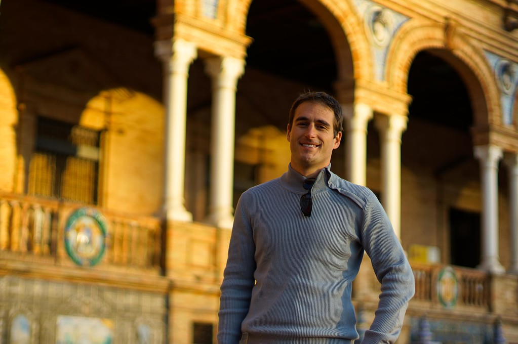 Gabriel at the Plaza de Espana, Seville