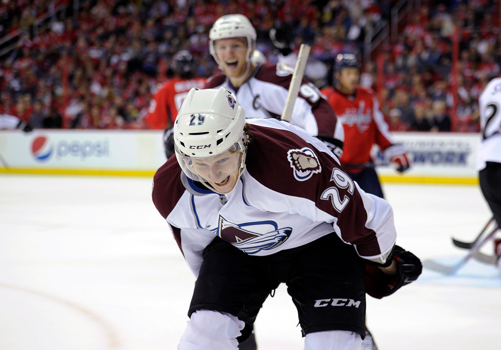 . Colorado Avalanche center Nathan MacKinnon (29) celebrates his goal during the second period an NHL hockey game against the Washington Capitals, Saturday, Oct. 12, 2013, in Washington. (AP Photo/Nick Wass)