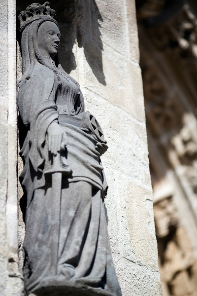 Statue of a Queen on the south side of the Cathedral of Quimper, departament of Finistere, region of Brittany, France