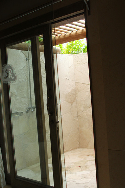 Our own private outdoor shower.