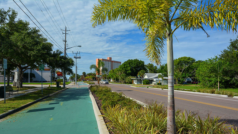 Bike route painted green in Titusville