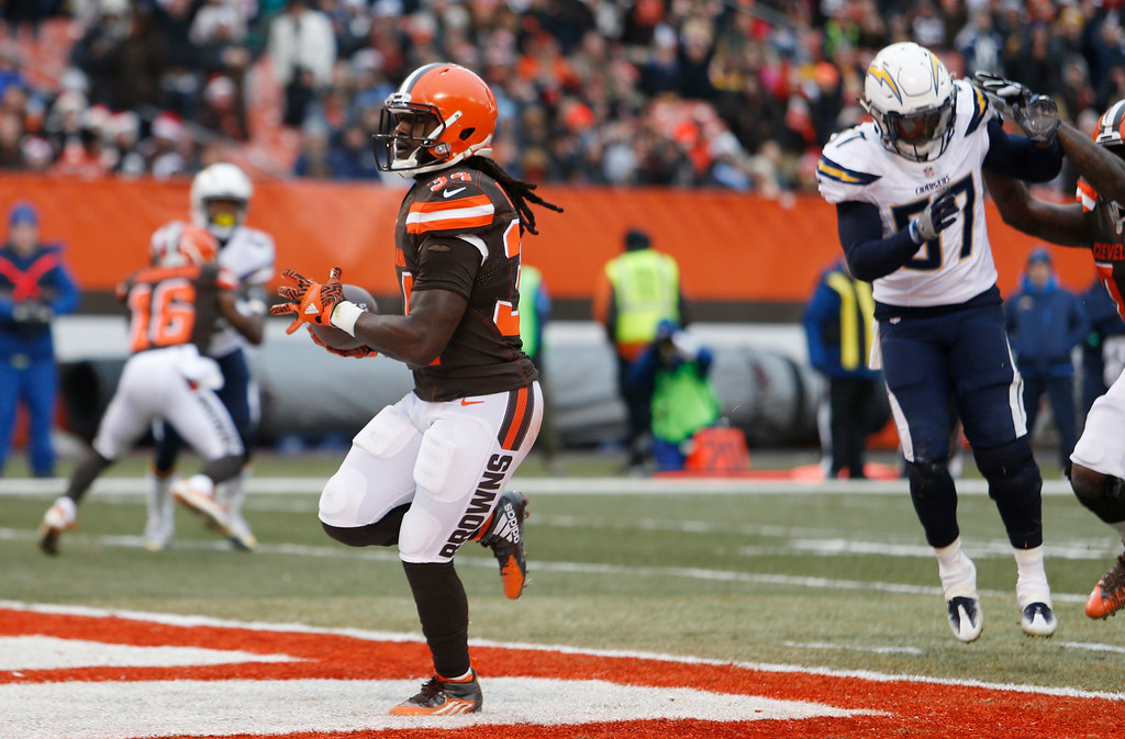 . Cleveland Browns running back Isaiah Crowell (34) runs for a four yard touchdown in the first half of an NFL football game against the San Diego Chargers, Saturday, Dec. 24, 2016, in Cleveland. (AP Photo/Ron Schwane)