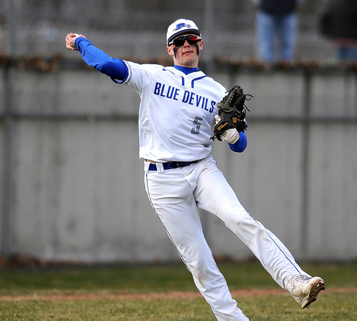 4/5/2018 Mike Orazzi   Staff Plainville's Tyler St.Onge (5) Thursday afternoon in Plainville.