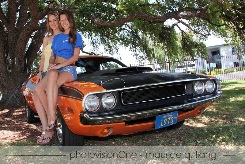 Kirsten and Kassidy on Dad's Challenger.