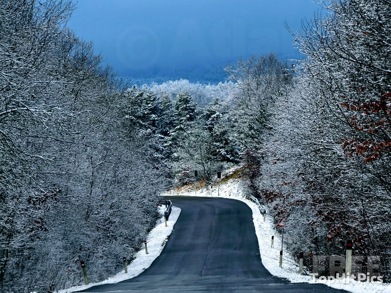 Snowy Scenes on Monte Amiata in Tuscany, Italy