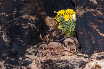 Memorial alter to the dead with skulls
