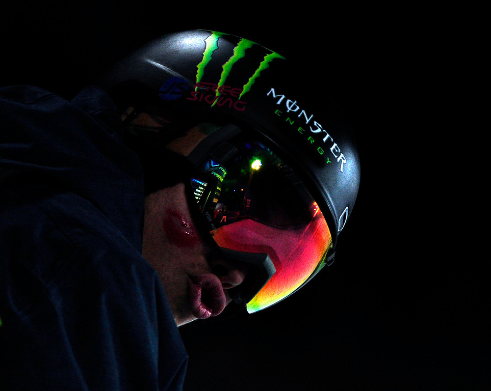 . David Wise prepares for his first run at the men\'s ski superpipe final in Aspen at Winter X Games in Aspen, January 24, 2014. Wise went on to win gold. (Photo By Mahala Gaylord/The Denver Post)