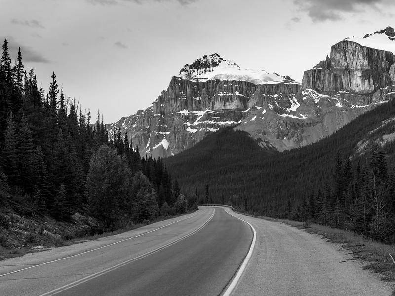 Highway passing through Banff National Park, Alberta, Canada