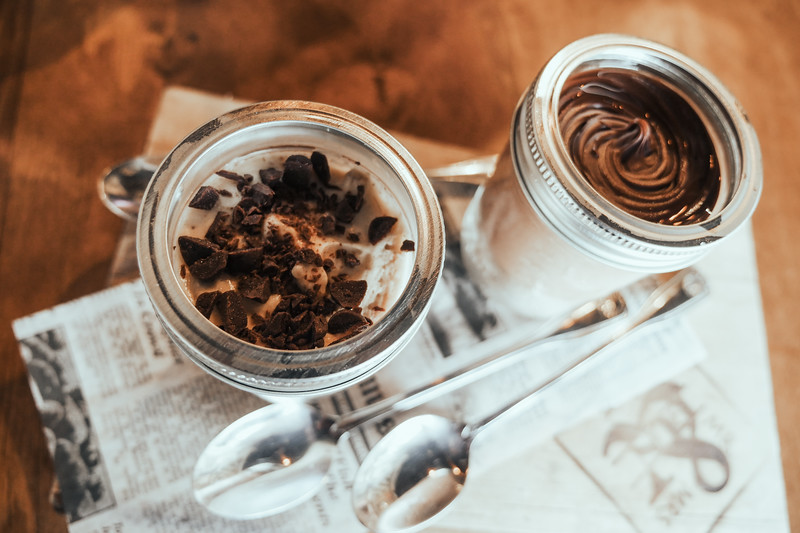 Nutella Cheesecake, Cookie Dough Cheesecake in jars