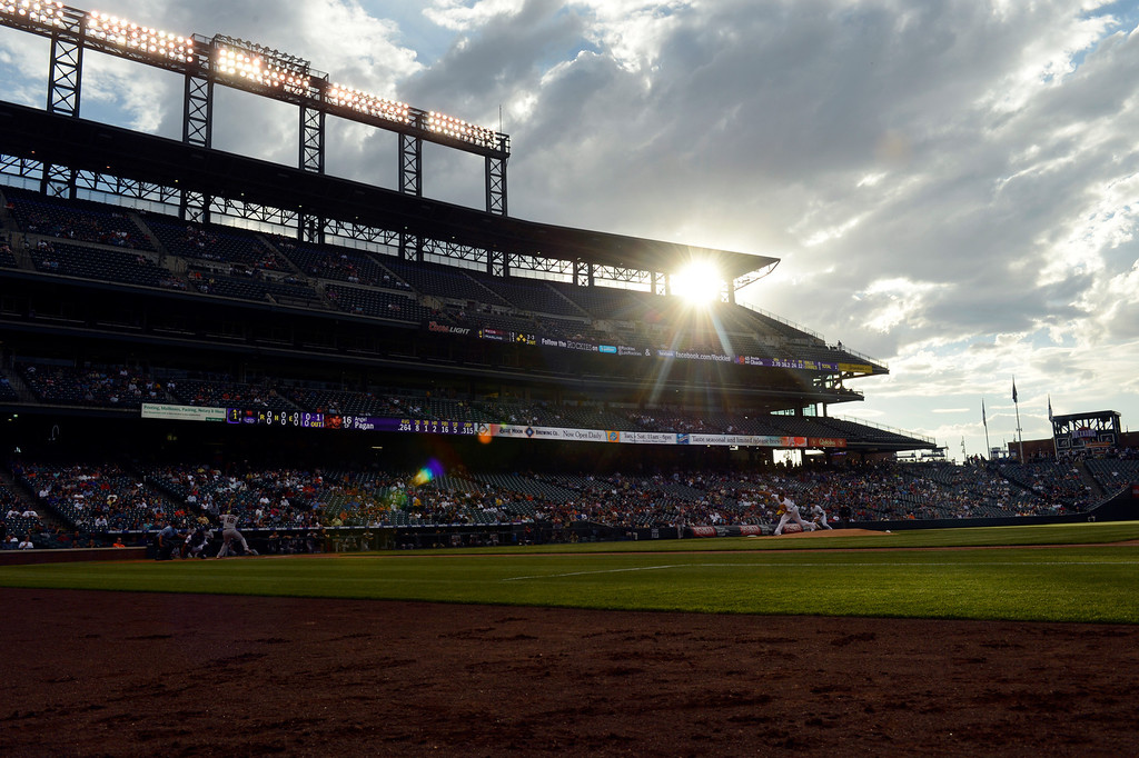 . A Colorado sunset at the Colorado Rockies San Francisco Giants game May 16, 2013 at Coors Field. (Photo By John Leyba/The Denver Post)