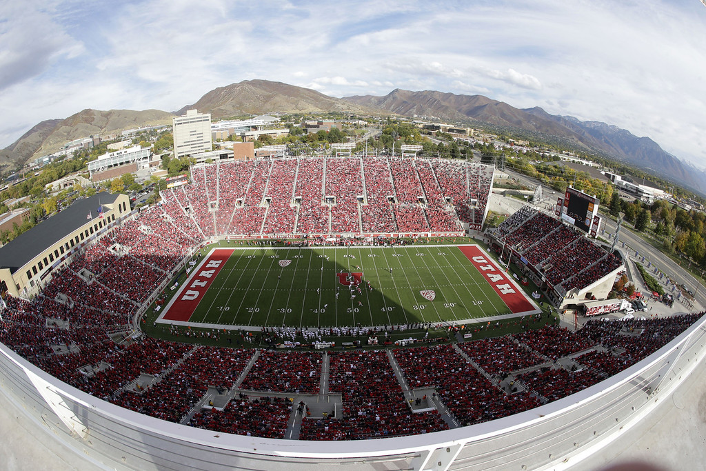 . This photo taken with a fisheye lens shows Utah\'s Rice-Eccles Stadium during the first quarter of an NCAA college football game against Stanford on Saturday, Oct. 12, 2013, in Salt Lake City. (AP Photo/Rick Bowmer)