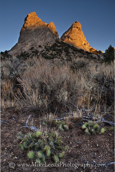 First light touching the Twin Sisters, City of Rocks. Idaho.
