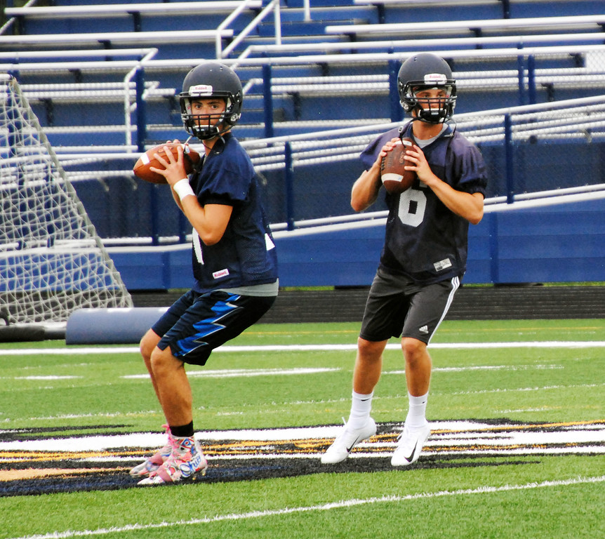 . Jon Behm - The Morning Journal<br> Scenes from North Ridgeville\'s first day of football practice on July 30.