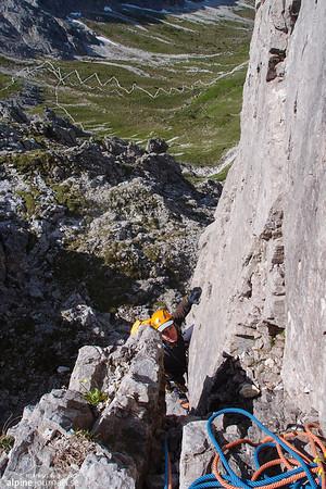 Herbstsonne alpine climbing at Oberstdorfer Hammerspitze 2014-06-22